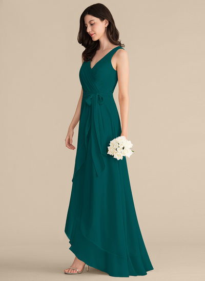 A-Line/Princess V-neck Asymmetrical Chiffon Prom Dresses With Ruffle Bow(s)