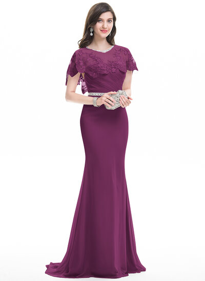 Sheath/Column Sweetheart Sweep Train Chiffon Evening Dress With Ruffle Beading