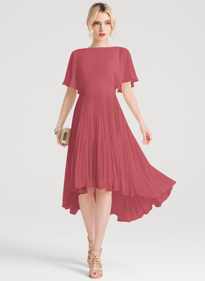 A-Line Scoop Neck Asymmetrical Chiffon Cocktail Dress With Pleated
