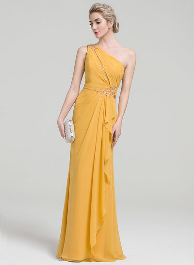 A-Line One-Shoulder Floor-Length Chiffon Evening Dress With Beading Sequins Cascading Ruffles