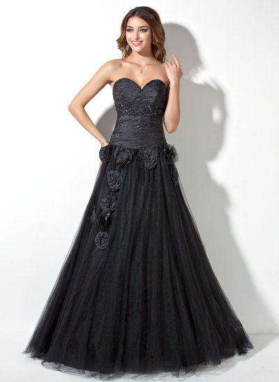 A-Line/Princess Sweetheart Floor-Length Taffeta Tulle Quinceanera Dress With Ruffle Beading Flower(s)
