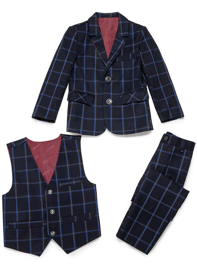 Boys Plaid Ring Bearer Suits With Jacket Vest Pants