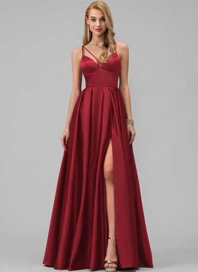 A-Line V-neck Floor-Length Satin Bridesmaid Dress With Split Front Pockets