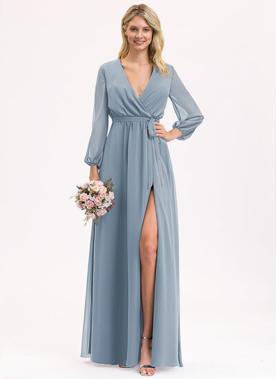 A-Line V-neck Floor-Length Chiffon Prom Dresses With Ruffle Bow(s) Split Front