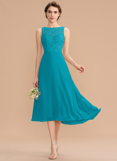A-Line Scoop Neck Asymmetrical Chiffon Lace Bridesmaid Dress With Bow(s)