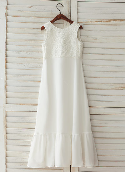 A-Line/Princess Floor-length Flower Girl Dress - Chiffon/Satin/Lace Sleeveless Scoop Neck With V Back