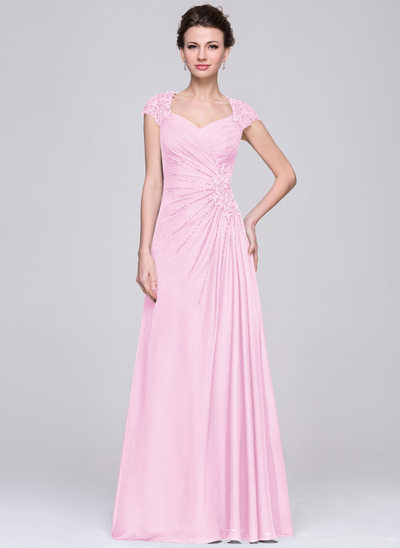 A-Line/Princess Sweetheart Floor-Length Chiffon Mother of the Bride Dress With Ruffle Lace Beading Sequins
