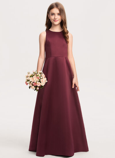 A-Line Scoop Neck Floor-Length Satin Junior Bridesmaid Dress