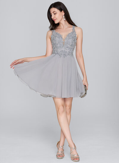 A-Line/Princess Sweetheart Short/Mini Chiffon Cocktail Dress With Beading Sequins