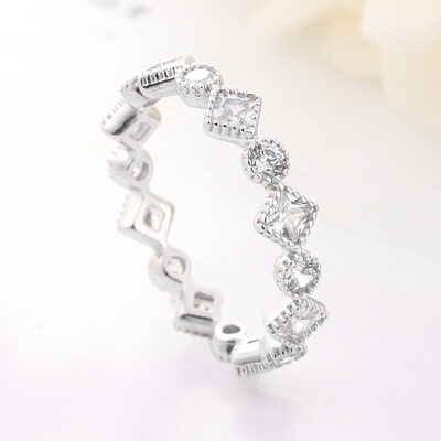 Ladies' Elegant 925 Sterling Silver/S925 Sliver With Oval Rhinestone Rings/Stackable Rings For Bridesmaid/For Friends