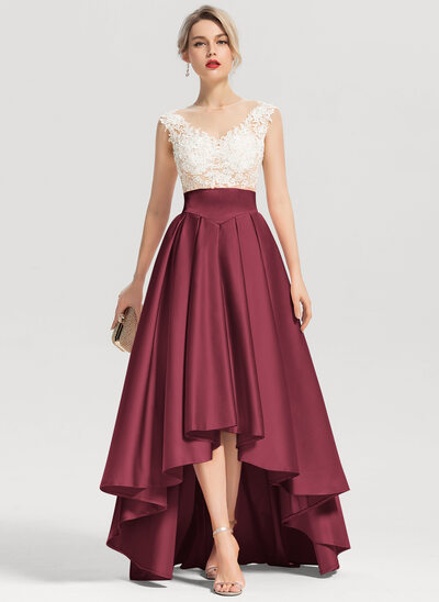 A-Line/Princess Scoop Neck Asymmetrical Satin Evening Dress With Beading