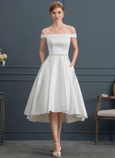 Ball-Gown Off-the-Shoulder Knee-Length Satin Wedding Dress With Beading Pockets