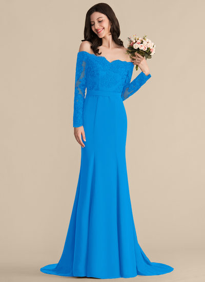 Trumpet/Mermaid Off-the-Shoulder Court Train Chiffon Lace Bridesmaid Dress