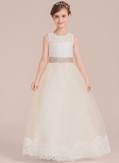 Ball Gown Floor-length Flower Girl Dress - Satin/Tulle/Lace Sleeveless Scoop Neck With Sash/Beading