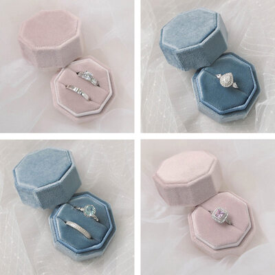 Bride Gifts - Personalized Graceful Comely Octagon Stamping Inside Velvet Ring Holder