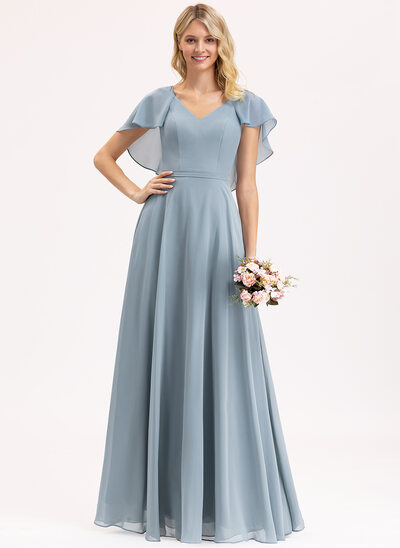 A-Line V-neck Floor-Length Chiffon Evening Dress With Cascading Ruffles