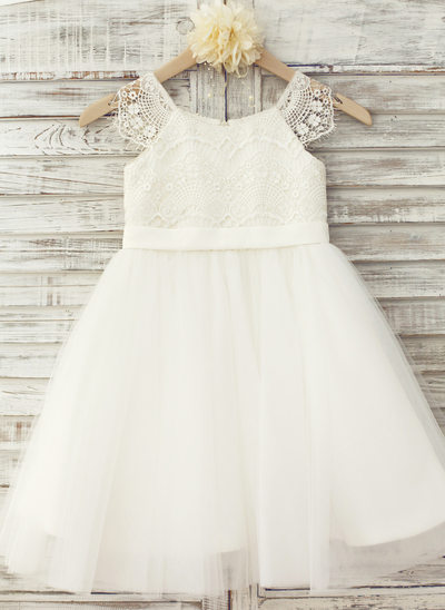 A-Line/Princess Knee-length Flower Girl Dress - Tulle/Lace Short Sleeves Scoop Neck With Appliques (Undetachable sash)
