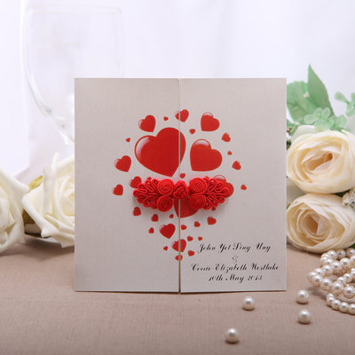 Personalized Heart Style Gate-Fold Invitation Cards (Set of 50)