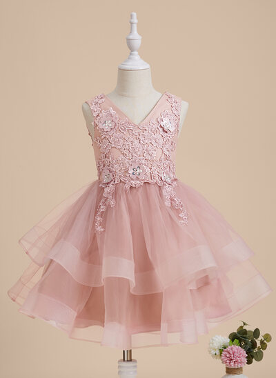 A-Line Knee-length Flower Girl Dress - Tulle/Lace Sleeveless V-neck With Beading/Flower(s)/Sequins