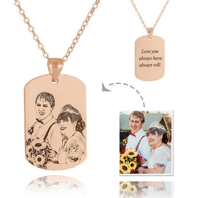 Custom 18k Rose Gold Plated Silver Tag Mens Necklace Black And White Photo Engraved Engraved Necklace Photo Necklace - Birthday Gifts