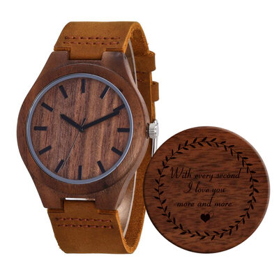Groomsmen Gifts - Personalized Mens Custom Engraved Leather Walnut Watches
