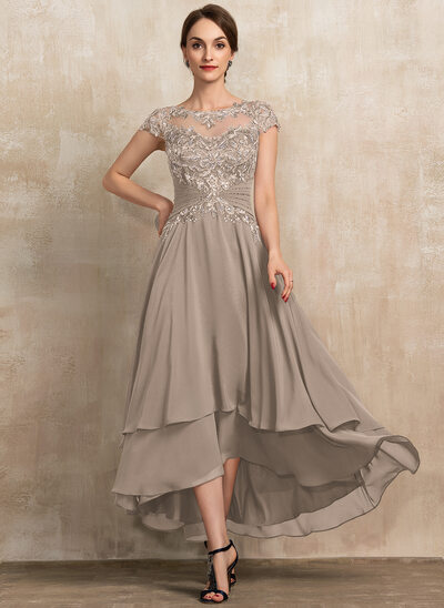 A-Line Scoop Neck Asymmetrical Chiffon Lace Mother of the Bride Dress With Beading