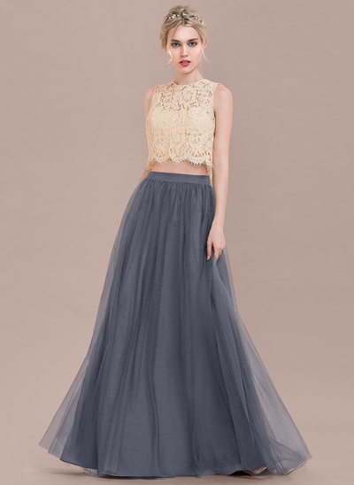 A-Line/Princess Scoop Neck Floor-Length Tulle Lace Bridesmaid Dress