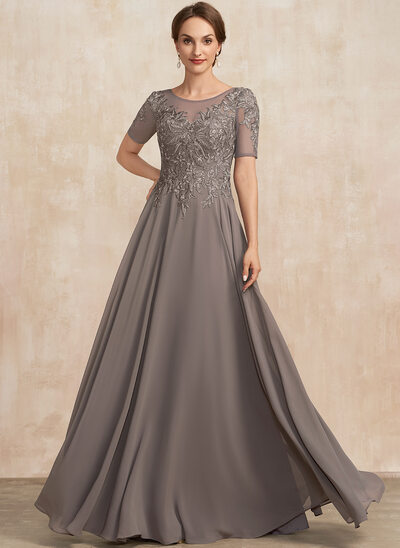 A-Line Scoop Neck Floor-Length Lace Chiffon Mother of the Bride Dress