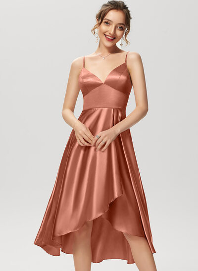 A-Line V-neck Asymmetrical Cocktail Dress