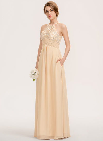 A-Line Scoop Neck Floor-Length Chiffon Lace Bridesmaid Dress With Ruffle Pockets