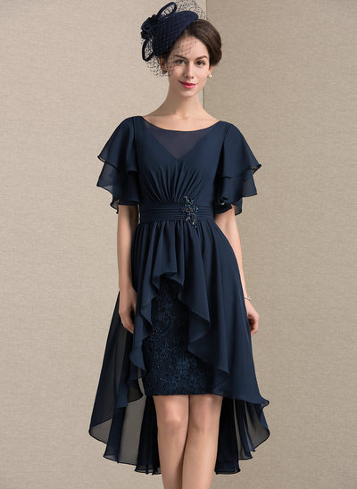 Sheath/Column Scoop Neck Asymmetrical Chiffon Lace Mother of the Bride Dress With Beading Sequins Cascading Ruffles