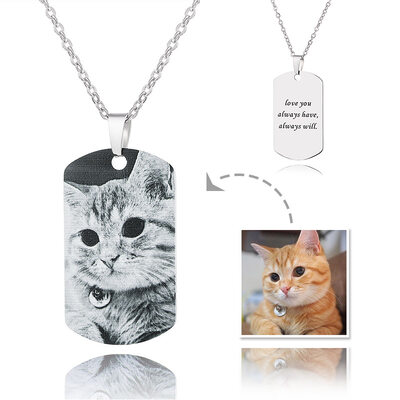 Custom Silver Engraving/Engraved Tag Black And White Photo Necklace - Mother's Day Gifts