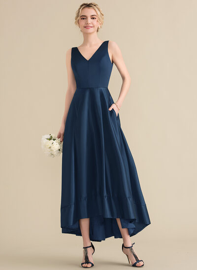A-Line/Princess V-neck Asymmetrical Satin Bridesmaid Dress