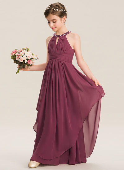 84ab83efb395a A-Line Scoop Neck Floor-Length Chiffon Junior Bridesmaid Dress With Ruffle  Beading