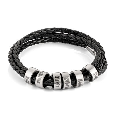 Men Braided Leather Bracelets With Custom Beads In Silver - Gifts For Men