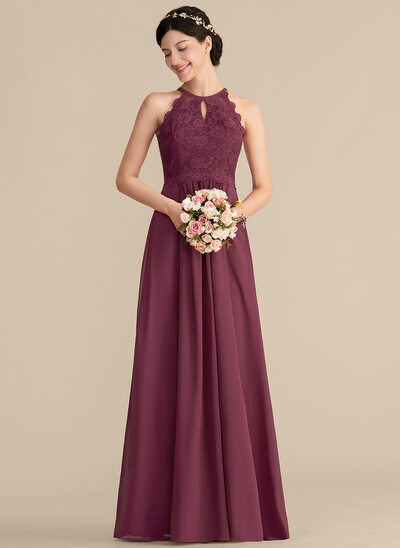 284a62d1863 A-Line Princess Scoop Neck Floor-Length Chiffon Lace Bridesmaid Dress