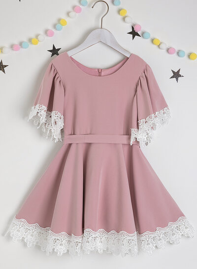 A-Line Knee-length Flower Girl Dress - Satin/Lace Short Sleeves Scoop Neck With Sash