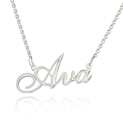 Custom Sterling Silver Signature Vintage Name Necklace - Christmas Gifts