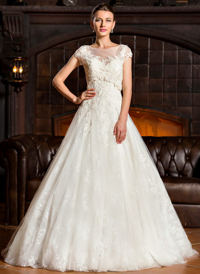 Ball-Gown Sweetheart Sweep Train Tulle Lace Wedding Dress
