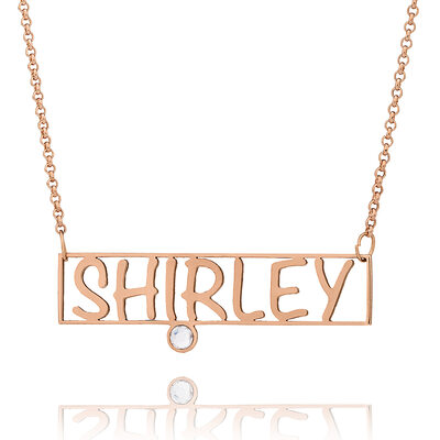 Custom 18k Rose Gold Plated Name Bar Hollow Carved Birthstone Necklace - Christmas Gifts