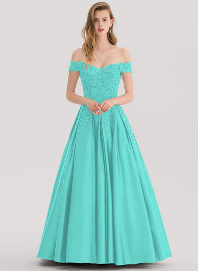 Ball-Gown Off-the-Shoulder Floor-Length Satin Prom Dresses With Beading Sequins