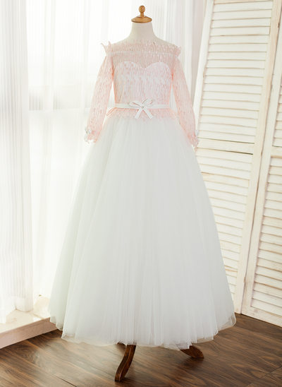 A-Line/Princess Floor-length Flower Girl Dress - Tulle/Lace Long Sleeves Bateau With Bow(s)