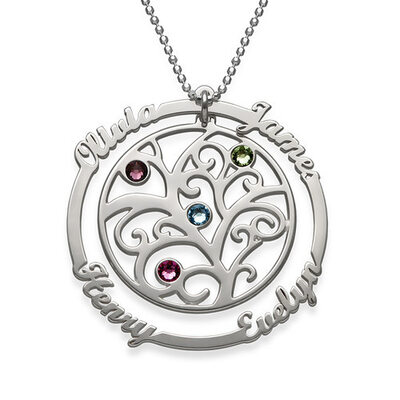 Silver Name Tree Birthstone Family Name Necklace Birthstone Necklace -