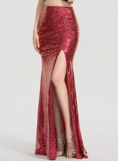Trumpet/Mermaid Floor-Length Sequined Prom Skirt  With Split Front