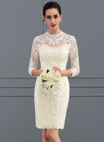 Plus size wedding dresses affordable high quality jjshouse sheathcolumn scoop neck shortmini lace wedding dress junglespirit Image collections