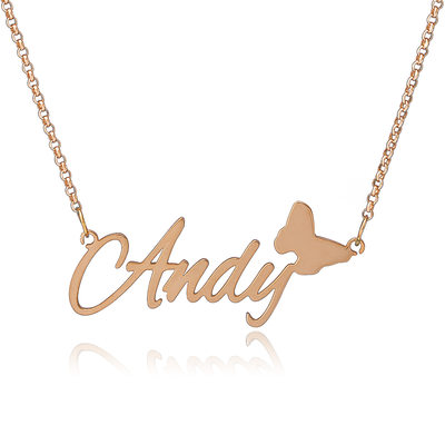 Custom 18k Rose Gold Plated Silver Name Necklace With Butterfly - Birthday Gifts Mother's Day Gifts