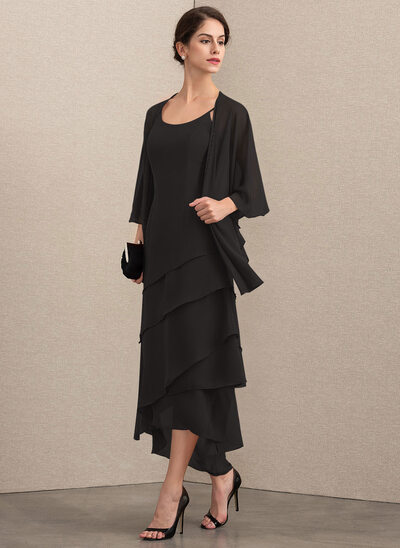 A-Line Scoop Neck Asymmetrical Chiffon Mother of the Bride Dress With Beading
