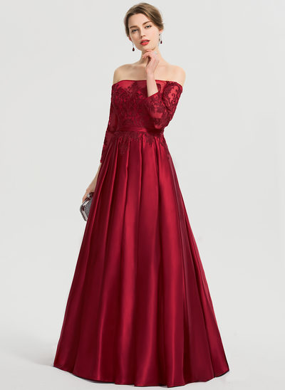 Ballkjole/Princess Off-the-Shoulder Gulvlengde Satin Ballkjole