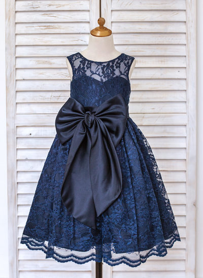 A-Line/Princess Tea-length Flower Girl Dress - Lace Sleeveless Scoop Neck With Bow(s)