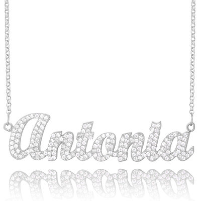 Custom Sterling Silver Name Necklace With Diamond